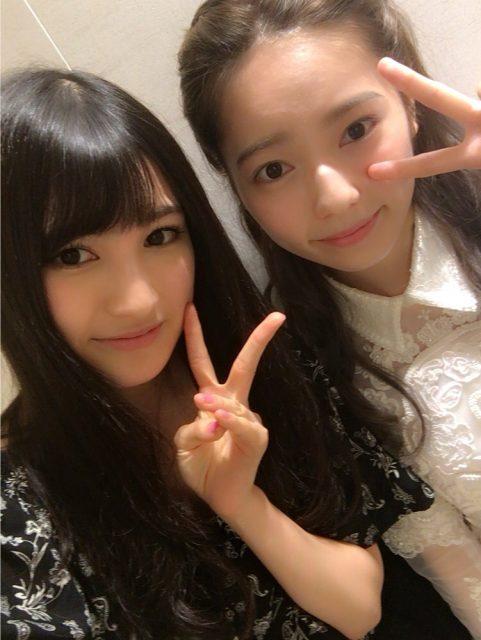 HKT48神志那結衣「大好きなぱるるさんと写真を撮ってもらったっちゃん♥」
