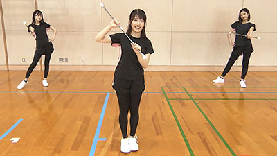 「HKT青春体育部!」#49:今田美奈・松岡はな・小田彩加・上島楓がバトントワリングに挑戦!