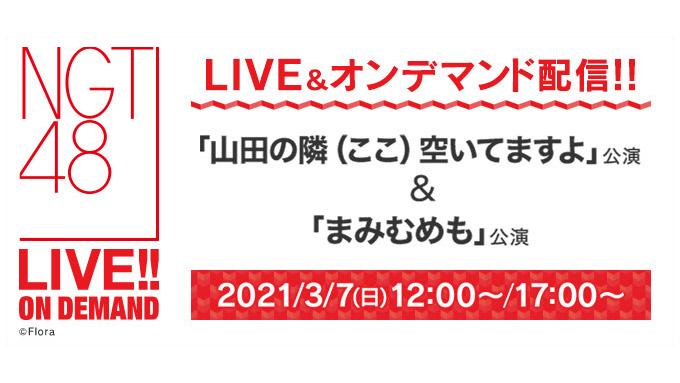 NGT48「山田の隣(ここ)空いてますよ」公演&「まみむめも」公演、12時・17時からDMM配信!
